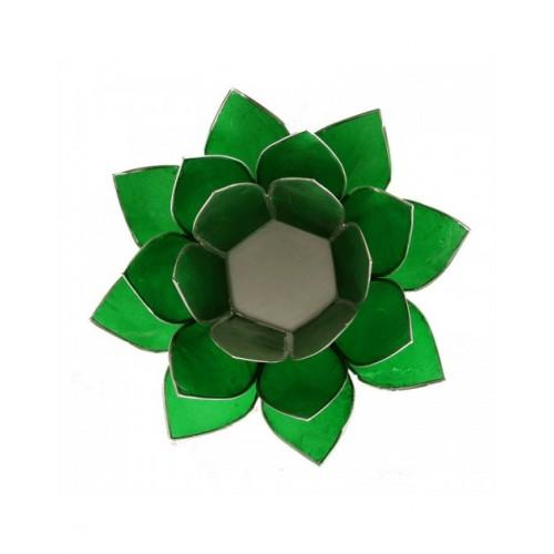"""Свещник """"'Лотос"""", мида капис, зелено и сребро, (4 та чакра)"""