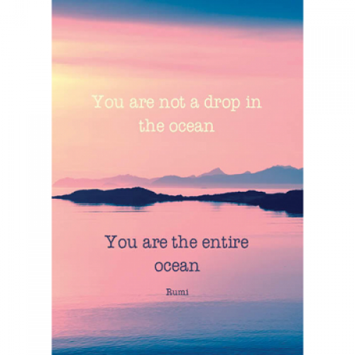 "Поздравителна картичка ""You are not a drop in the ocean you are the entire ocean - Rumi"""