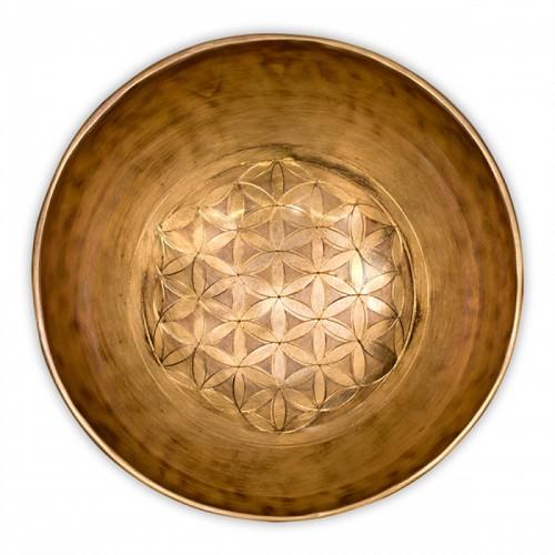 """Лечебна тибетска пееща купа  """"Цвете на живота"""" 950 гр. с чукче"""