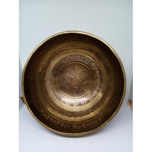 """Гравирана тибетска пееща купа  """"Очите на Буда"""" 490 гр."""