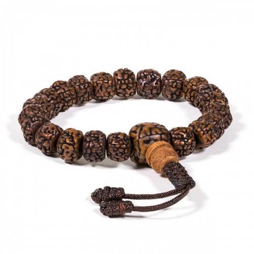 Будистка молитвена броеница: мала/гривна рудракша с 21 семена,тъмна