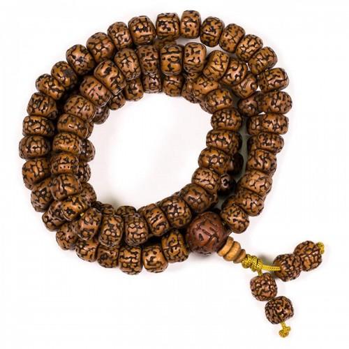 Рудракша мала - будистка молитвена броеница от семена рудракша 10 мм