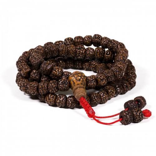 Рудракша мала - будистка молитвена броеница от полирани семена рудракша 7 мм